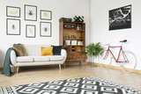 Vintage living room with bicycle - 191156021