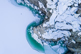 Thaw lake, blocks of ice and turquoise water. View from above with drone - 191158603
