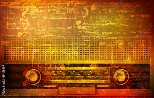 abstract-grunge-background-with-retro-radio