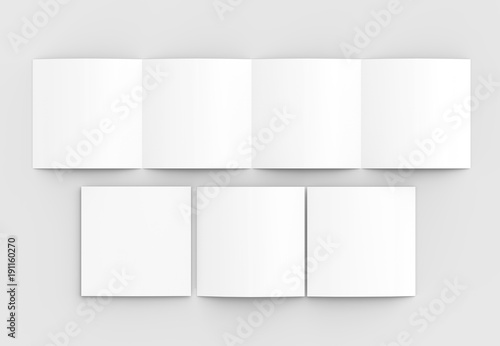 square four folded 4 fold brochure mock up isolated on soft gray