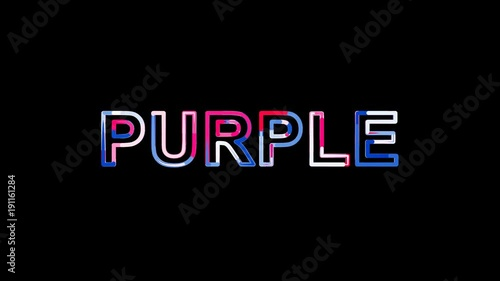 text PURPLE from letters of different colors appears behind small squares. Then disappears. Alpha channel Premultiplied - Matted with color white