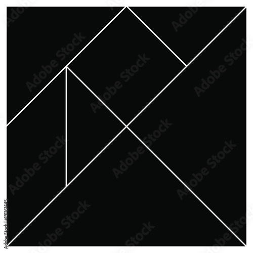 Tangram base black square pieces vector illustration