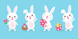 Cute cartoon easter bunny in 4 different poses, greeting card, banner design. Vector illustration - 191166670