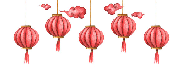 Hand-drawn watercolor illustration of the chinese lanterns on the white background. Chinese red lights © Khaneeros