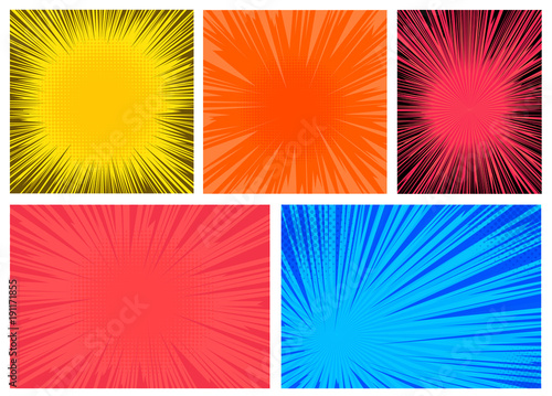 Set of colorful radial lines comics style background. Manga action, speed abstract. Vector illustration. Isolated on white background - 191171855