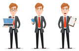 Set with handsome businessman in suit - 191173653
