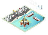 Set of Isolated High Quality Isometric City Elements. Refinery and Oil Platform on White Background