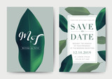 Fototapety Set of Wedding Card template Background. For Invitation, menu, rsvp, thank you, Decoration with leaf & floral flower summer tropical watercolor style. Vector illustration.