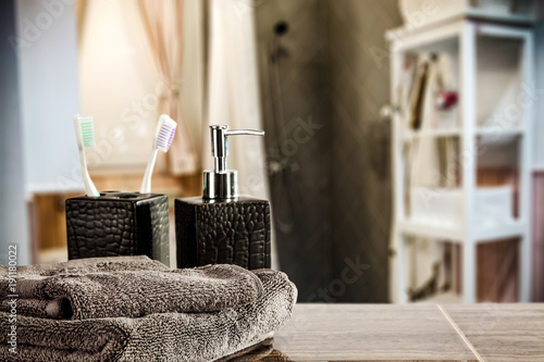 Fotobehang Spa desk of free space and towels decoration in bathroom