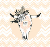 Hand drawn cow skull with ornament, flower and leaves on the zig zag background. Bohemian design for card. Vector illustration. - 191180668