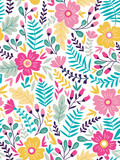 Vector floral seamless pattern in doodle style with flowers and leaves. Gentle, summer floral background. - 191181697