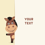 Funny horse looks out over the fields to text. Template with horse for cards, invitations or greetings