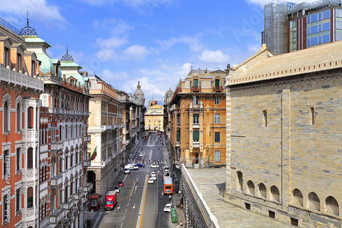 Poster Liguria Genoa, Liguria / Italy - 2012/07/06: Via XX Settembre street - view towards the Piazza de Ferrari square