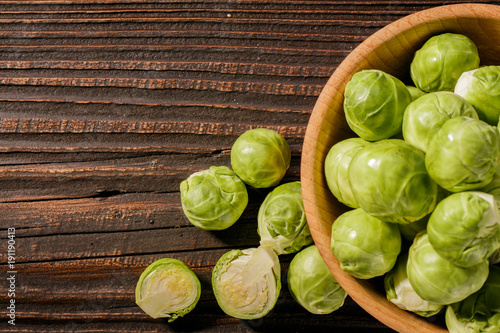 Fotobehang Brussel Brussels sprouts on a rustic wooden background