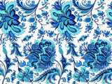 seamless blue flowers on a white background  - 191190678