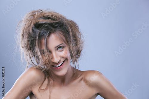 Beauty shot of young woman in studio