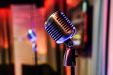 Retro microphone on stage in a pub - 191192825