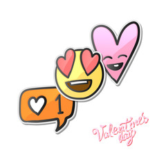 Valentines day stickers, Love emoji, icons, emoticons, vector illustration.