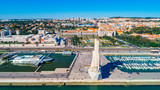 Famous Monument of Discoveries on the bank of Tagus river in Lisbon,Portugal.Visit site and viewpoint in Belem district.Within walking distance to the Torre de Belem tower.Famous destination - 191199869
