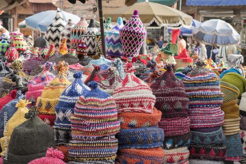Marrakesch Marokko Medina Mützen Verkauf