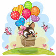 Cute Puppy in the box is flying on balloons