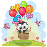 Cute Penguin In The Box Is Flying On Balloons Wall Sticker