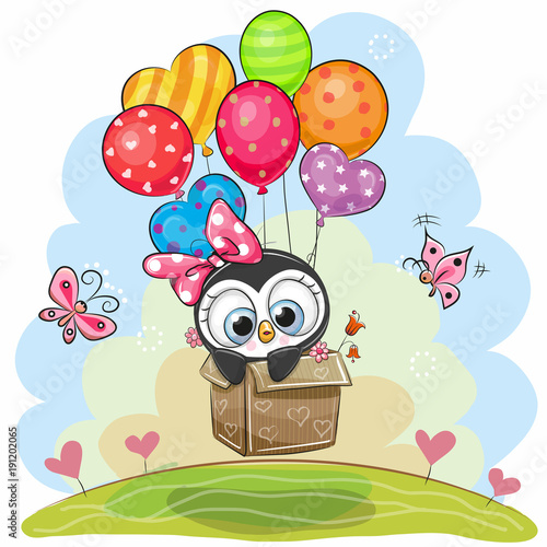Cute Penguin in the box is flying on balloons