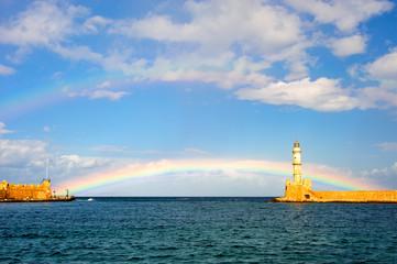Der Leuchtturm von Chania und en Regenbogen