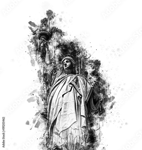 Black and white sketch of the Statue of Liberty - 191203462