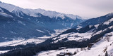 Winter view at Austrian mountains and valley