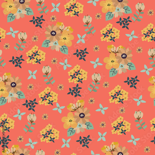Vintage floral pattern. Seamless vector pattern with cute flowers for textile, packaging, Wallpaper, covers.