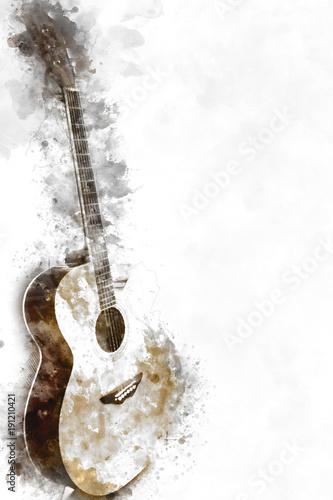 abstrakte-schone-gitarre-im-vordergrund-auf-aquarellmalereihintergrund-und-digital-illustration