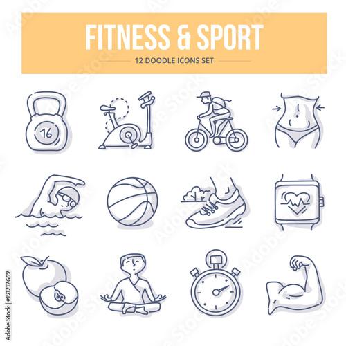 Fototapeta Fitness & Sport Doodle Icons