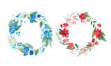 Aquarelle painting of floral wreath made of wild flowers isolated on white background - 191214075