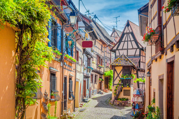 Charming street scene in old medieval village in Europe in summer © JFL Photography
