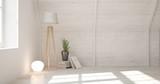 White empty room with lamp. Scandinavian interior design. 3D illustration