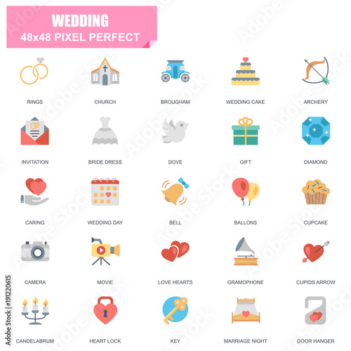 Simple Set of Wedding Related Vector Flat Icons. Contains such Icons as Bride Dress, Ballons, Rings, Brougham, Love Hearts, Gift, Invitation and more. Editable Stroke. 48x48 Pixel Perfect.