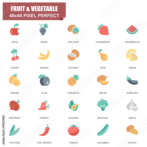 Simple Set of Fruit and Vegetable Related Vector Flat Icons. Contains such Icons as Apple, Banana, Coconut, Cherry,Watermelon, Beetroot, Potato and more. Editable Stroke. 48x48 Pixel Perfect.