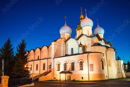 Foto Murales Cathedral of the Annunciation with clear blue sky in Kazan Kremlin, Russia