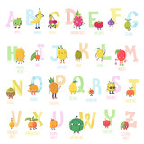 Cute cartoon live fruits vector alphabet.