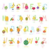 Cute cartoon live fruits vector alphabet. - 191222242