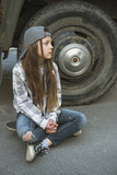girl sit near truck - 191223695