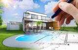 Plan et esquisse d'une maison individuelle moderne avec piscine et jardin - 191226241