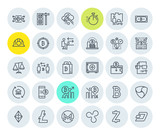 Set of thin line cryptocurrency icons. Premium quality outline symbol collection of blockchain technology, bitcoin, altcoins, mining, finance, digital money market, cryptocoin wallet, stock exchange. - 191229262