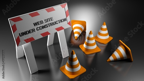 Web site under construction sign with traffic cones - 3D rendering