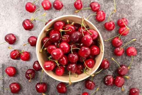 cherry fruit , top view