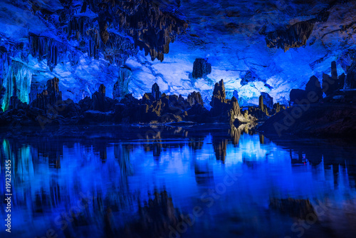 Tuinposter Guilin Illumination of underground caves with lakes in Guilin City, Guangxi Province, People's Republic of China