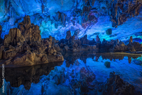 Foto op Aluminium Natuur Illumination of underground caves with lakes in Guilin City, Guangxi Province, People's Republic of China