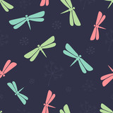 Dragonfly Seamless Pattern.  - 191237631