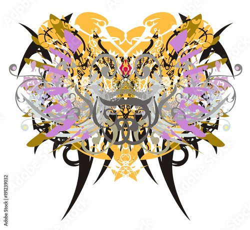 Tuinposter Vlinders in Grunge Grunge butterfly wings with floral and eagle elements. Abstract fantastic butterfly with colorful twirled floral elements, feathers and linear eagle elements splashes on a white background